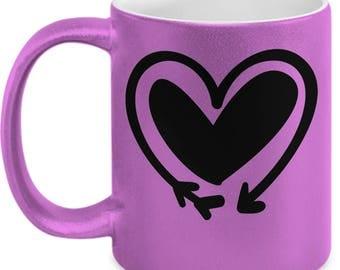 Double Heart Arrow - High Quality Cute Metallic Pink & Black Ceramic 11 oz Mug - Love Valentine's Day Mother's Day Mom Wife Girlfriend Gift
