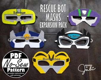 Rescue Bot No-Sew Mask Patterns (Expansion Pack)