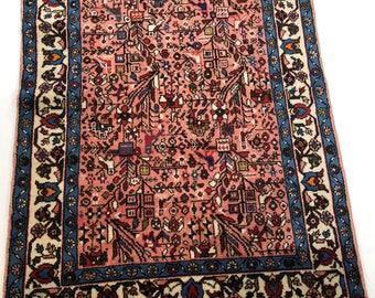 """001194 Hamedan Oriental Persian Rug 3'4""""x4'11"""""""