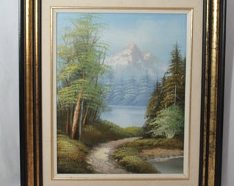 Spring Landscape Snowcapped Mountain Oil Painting On Canvas Signed GOODMAN Vintage