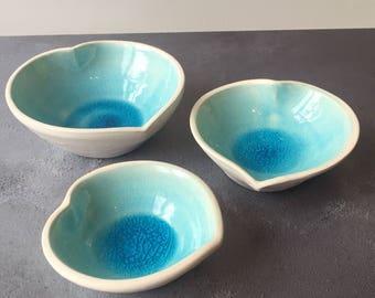 Beautiful Blue Ceramic Heart Bowl