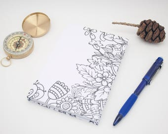 Flower Coloring A6 Hardcover Notebook Casebound Journal
