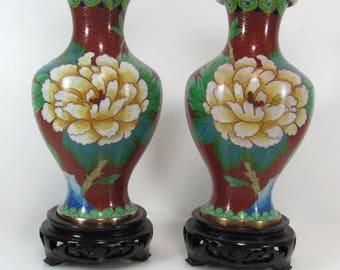 Pair of vases in cloisonné