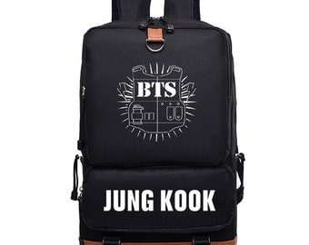 BTS Backpack, BTS Printing Backpack, Bangtan Boys, Canvas School Bags, Travel Bags Laptop Backpack, Korean Kpop Backpack