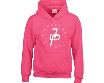 Jake Paul Circular It's Everyday Bro JP Pink Hoodie Team 10, Kids Girls Youth & Adults top sweater