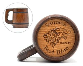 Game of Thrones mug, Personalized Best Man gift, Groomsman wooden beer mug, Groomsman gift, Game of Thrones inspired gift, House Stark Mug