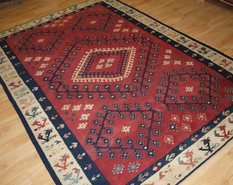Antique Turkish Sarkoy Kilim, Very Fine Weave, Cochineal Dye, Circa 1870.