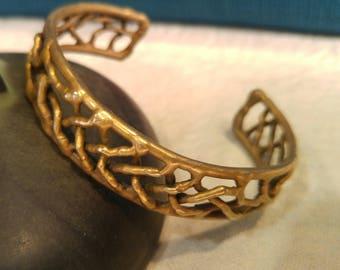 Brutalist Brass Cuff Bracelet- Mid Century Jewelry- Brutalist Art- Natural Shape Jewelry- Hand Forged- Brass Jewelry- Pretty Cuff Bracelet-
