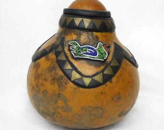 Vintage Ethiopian beaded gourd