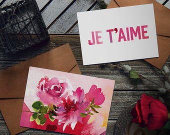 Je t'aime - INSTANT DOWNLOAD - card set, i love you, valentine's day, anniversary, digital download, floral, watercolor, watercolour, french