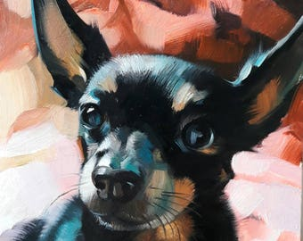 Custom pet portrait Black dog painting original art Personalized gift dog portrait Small picture animal art canvas painting doggy artwork