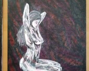 Sitting Woman, Acrylic on Canvas