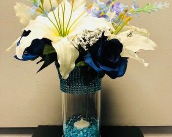 Royal blue custom center piece