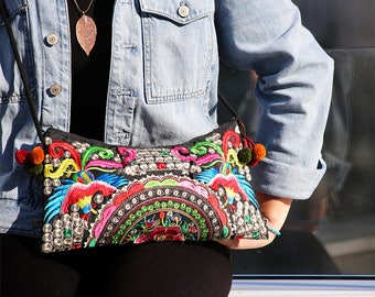 Crossbody Bag Bohemian Embroidered Parrot Floral Hmong Ethnic Tribal Pom Pom Clutch Boho Purse Gipsy Hippie Sling Bag Gift for Her Beach Bag