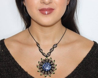 Macrome necklace with Sodalite crystal