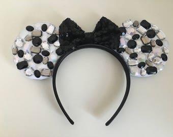 Black and white gem Minnie Ears