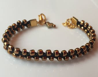 Chunky bronze and black braided seed bead bracelet by Truly Toogood