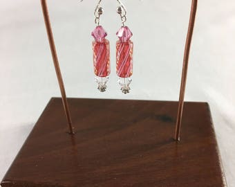 Art Glass Earrings Clear Pink with Red/Pink/White Colored Stripes Furnace Glass Beads and Swarovski Crystals