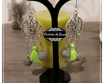 Earring with ball and tassel