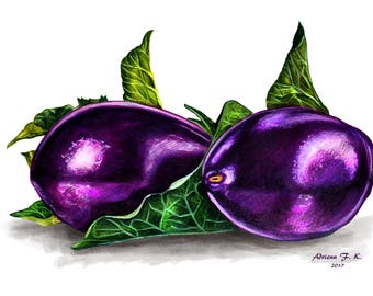 Eggplant - Original Coloured Pencil Drawing