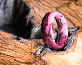 Love Ring - Purpleheart Wood and Pink Resin