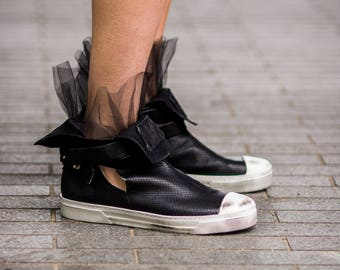 Dark Romantics Black Leather Sneakers/Boots/Shoes