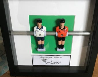 1970s retro handcrafted derby county table football art gift