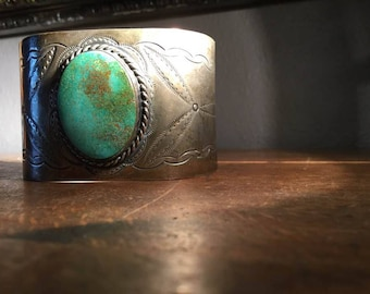 Navajo sterling silver turquoise cuff bracelet ca. 1930s-1950s