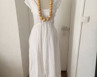 Lino Factory dress /White Summer dress with petticoat, size M