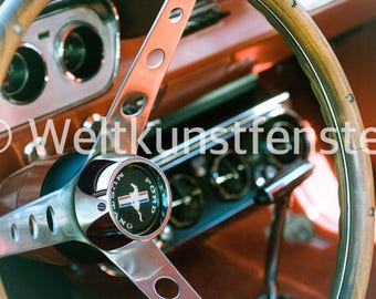 Ford Mustang Interior Photography Print acrylic/Alu Dibond