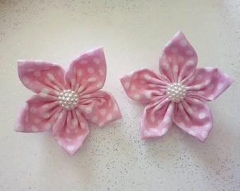 Pink polka dot flower hair clips, school girl accessories