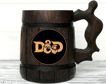 Dungeon and Dragons Mug. D&D Mug. Personalized Gamer Mug. Wood Stein Custom Beer Steins. Wooden Beer Tankard. Personalized Gifts for Men #86