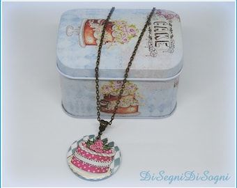 """PINK cake"" necklace-hand painted-cake"