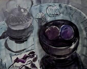 Fruit-piece with plums / Натюрморт со сливами