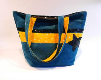 Blue teal suede tote bag