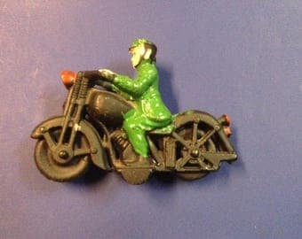 Cast Iron Motorcycle Rider Toy Reproduction