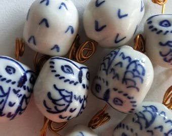 Wise Owl Ceramic Beads in Various Colors