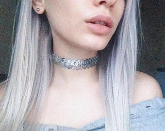 Sequins Silver Choker Necklace, Sequins silver Choker Necklace, Silver Choker For Women, Silver Regular Necklace Choker, Chokers