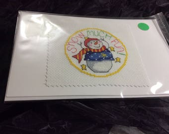 Cross stitched snowman greeting card