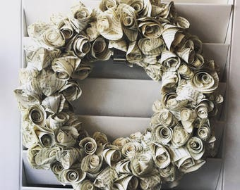 Book rose wreath