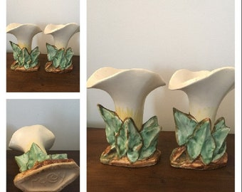 Vintage Pair of McCoy Pottery White Lily Bud Vases