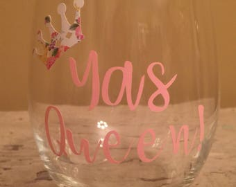 Yas Queen stemless wine glass *customizable*