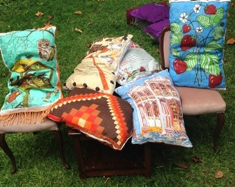 Vintage collector linen tea towels upcycled into cushions