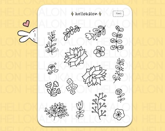 leaves and flowers. color me stickers. decorative stickers. planner stickers. bullet journal stickers, erin condren (t007)