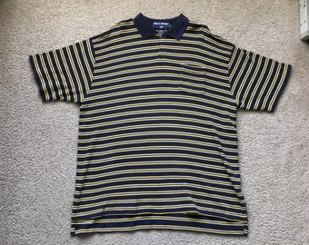 Men's Vintage 90s Polo Sport Ralph Lauren Striped Polo Shirt Size Xl