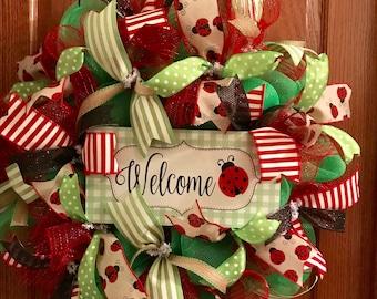 Welcome Ladybug Wreath, Welcome Wreath, Ladybug Wreath, Deco Mesh Wreath, Mothers Day Wreath
