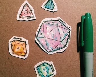 D20 + role playing dice stickers