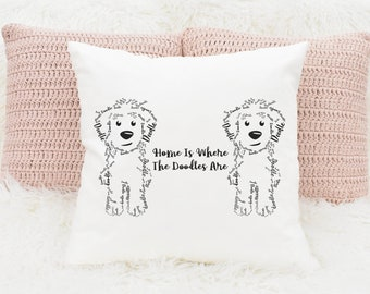 Two Doodles - Home Dog - Square Pillow - GoldenDoodle LabraDoodle Bernedoodle, Golden Doodle