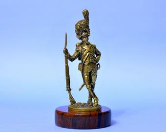 Napoleon Old Guard Soldier Warrior Guardsman Art Deco Bronze Statuette Sculpture Figurine