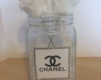 Chanel inspired diamanté vase